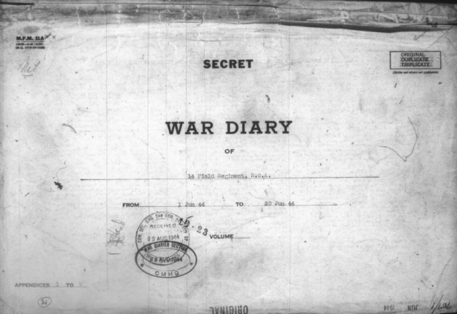 14th Field Regiment War Diary