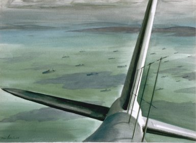 Painting of Gunner's View of Convoy oil on paper by Eric Aldwinckle