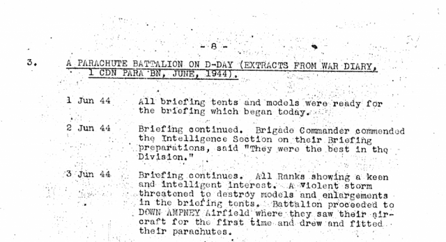War diary excerpts