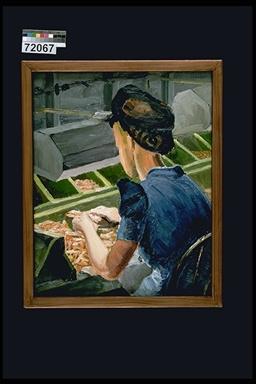 Painting of Woman Sorting Cartridges