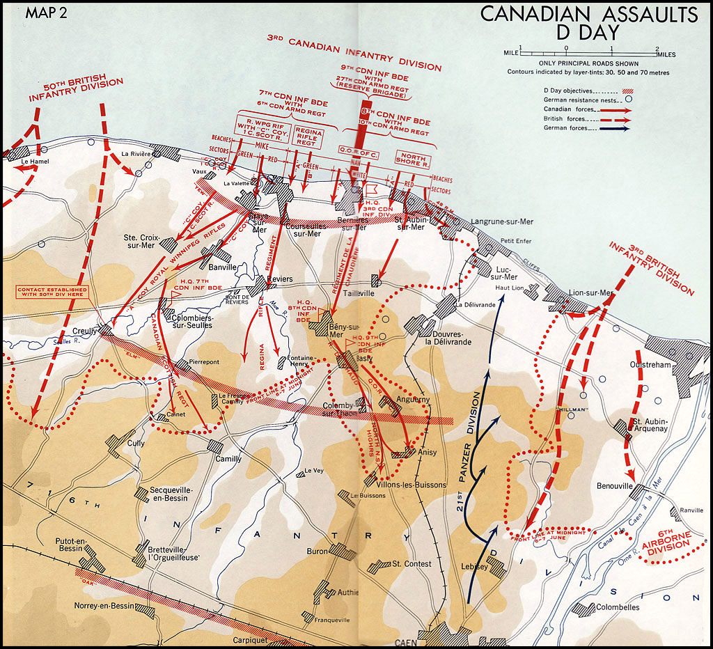 Map of Canadian assaults on D-Day.