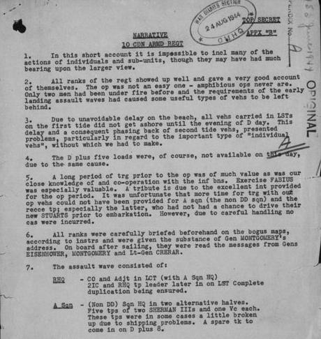 War Diary Appendix