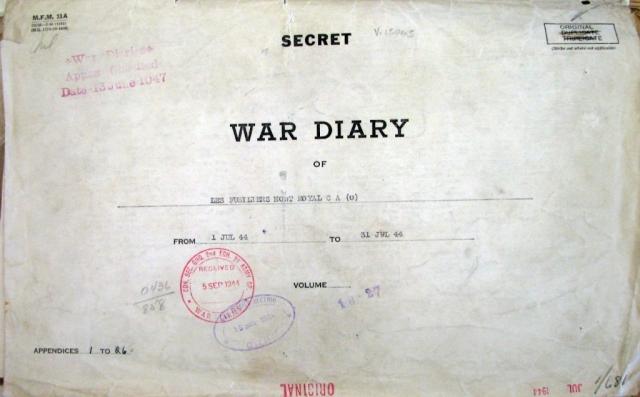 Photo of War Diary.