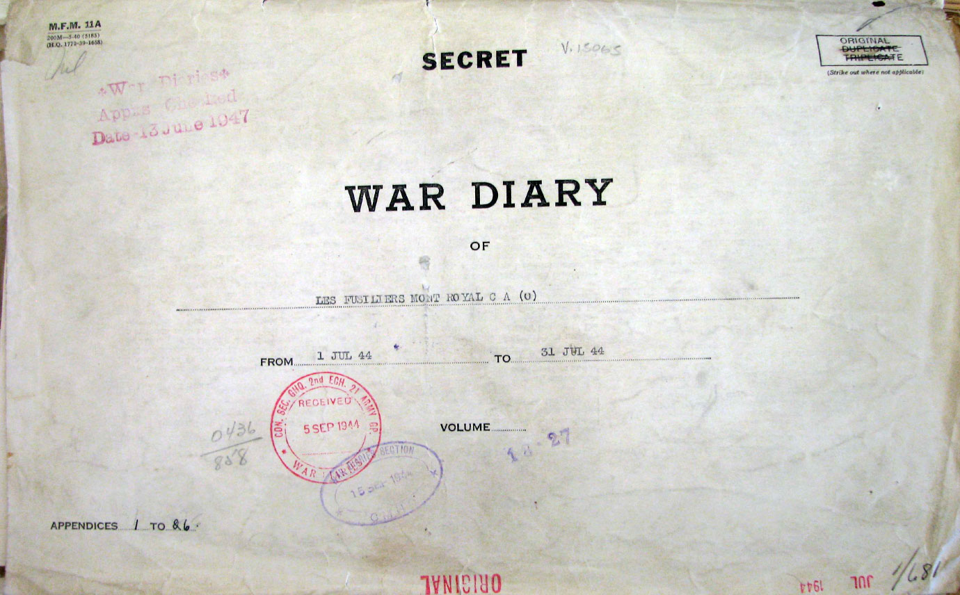 Photo of War Diary.