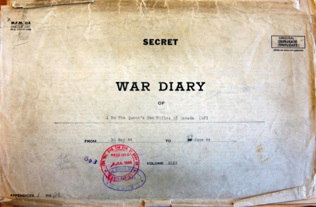 Queen's Own Rifles War Diary.