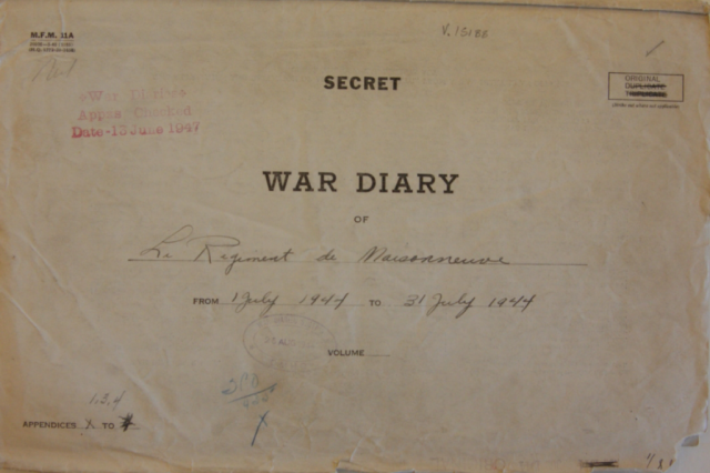 Photo of war diary