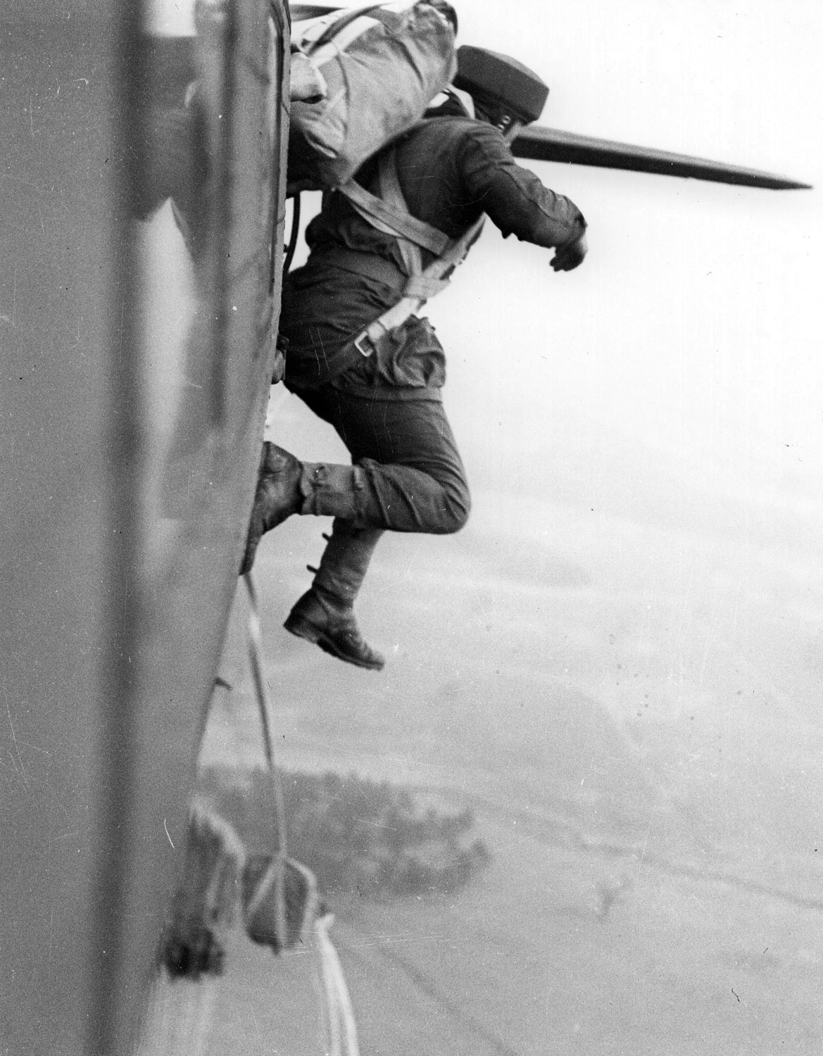 Photo of training jumps from a Dakota in England, 1944.