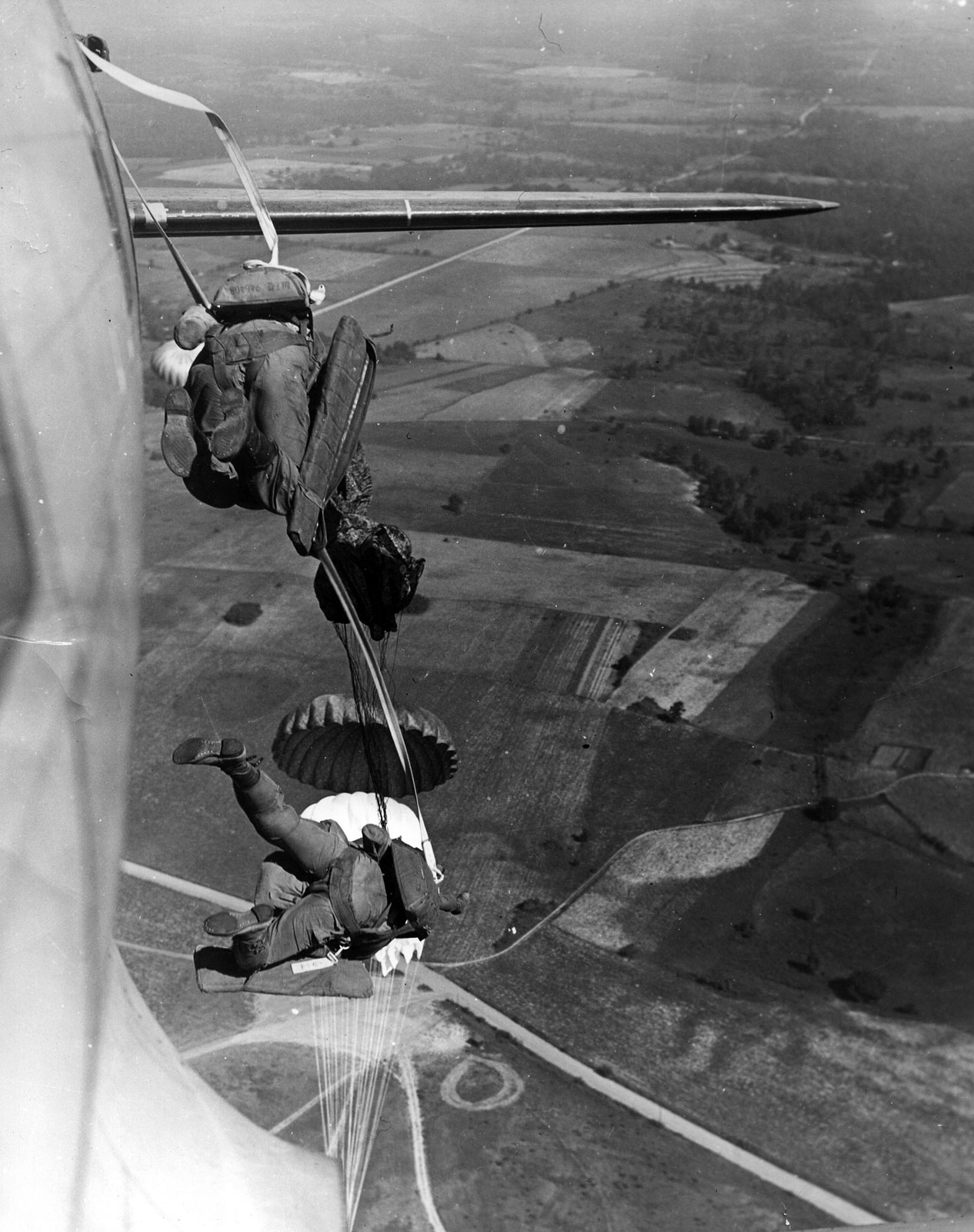 Photo of a training jump from a Dakota in England, 1944.