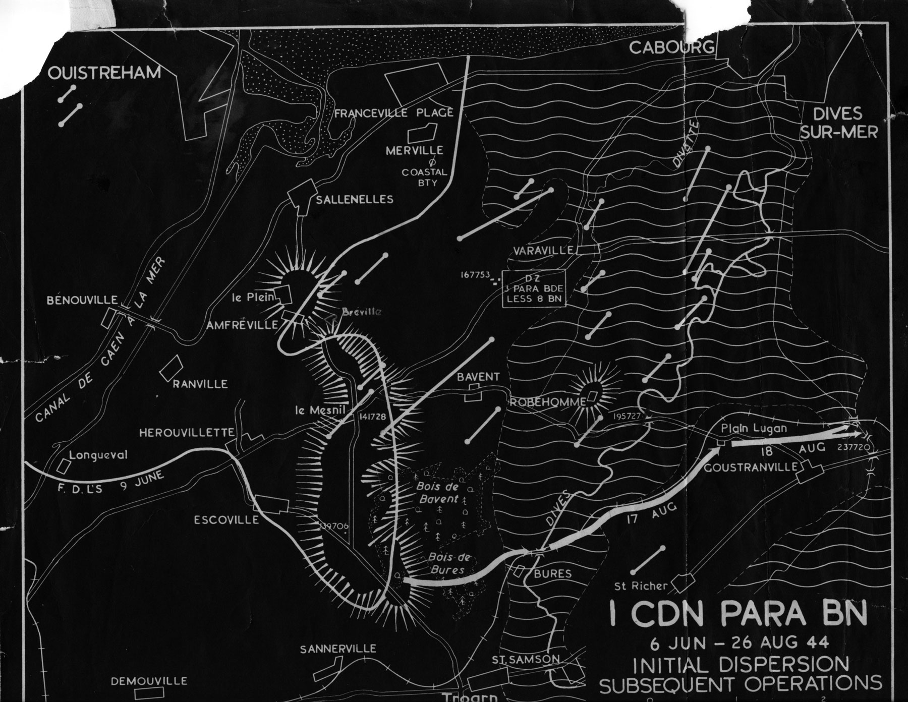 Map of objectives on D-Day.