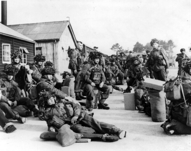 Photo of 1st Can Paras ready to enplane for Normandy, June 5, 1944.