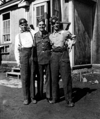 A photo of Arnott with two pals in basic training.