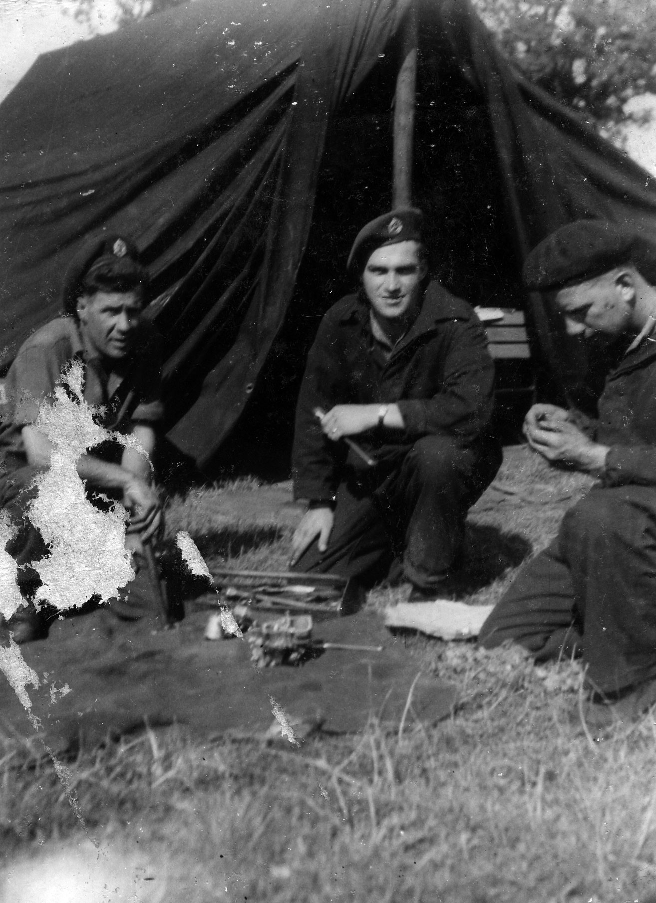 A photo of 3 men on a training exercise in England.