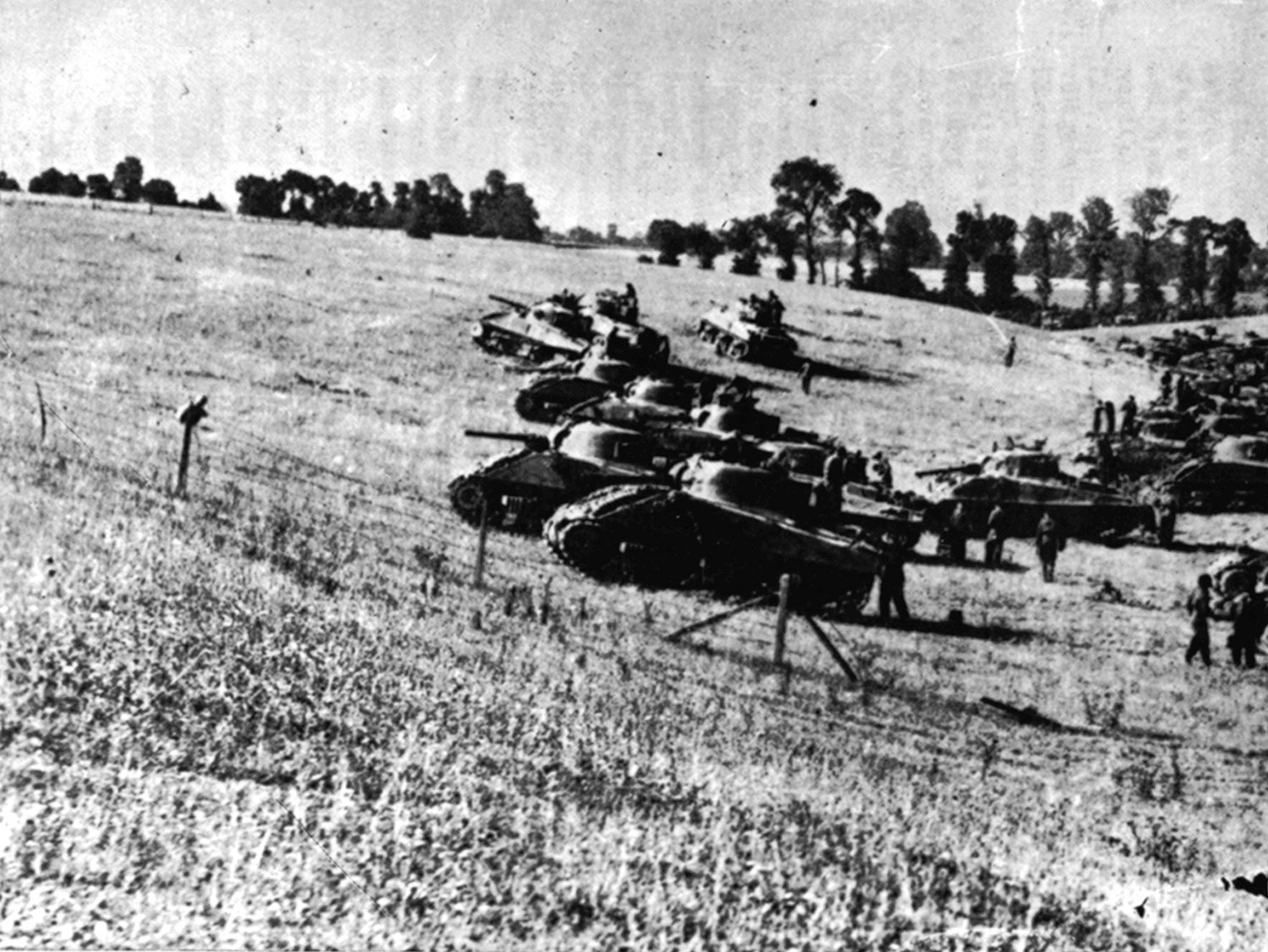 Photo of Sherman tanks in Normandy.