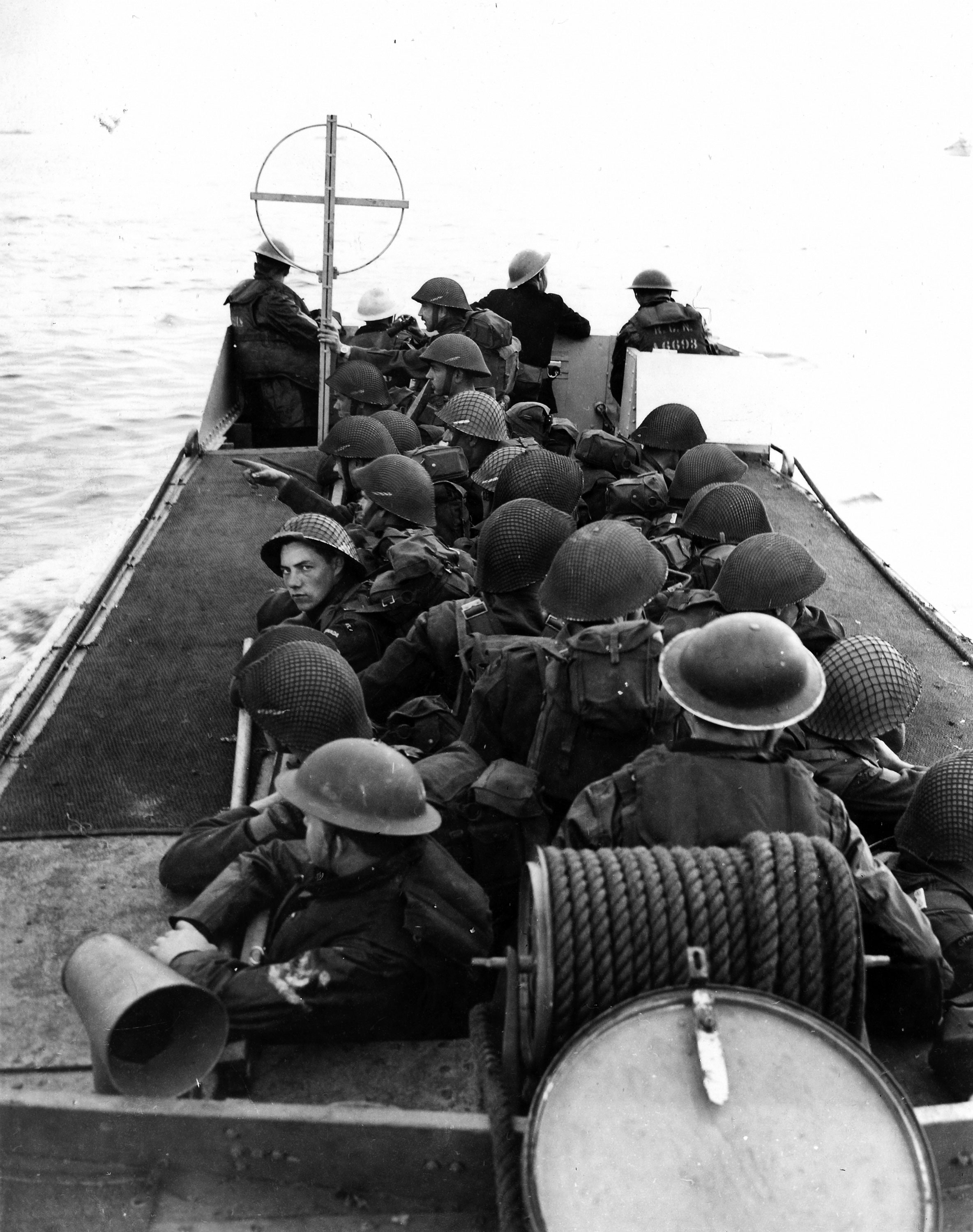 Photo of a landing craft training exercise prior to D-Day.