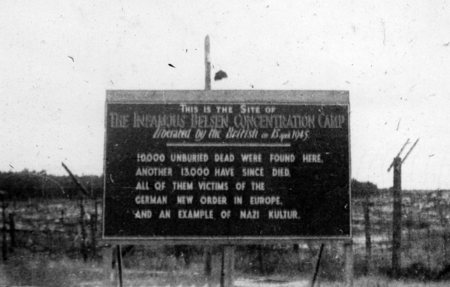 Photo of sign identifying Bergen Belsen Concentration Camp.