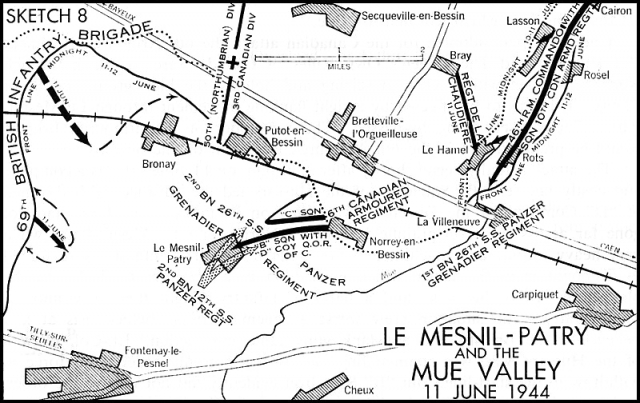 Map of the action at Le Mesnil-Patry on 11 June 1944.