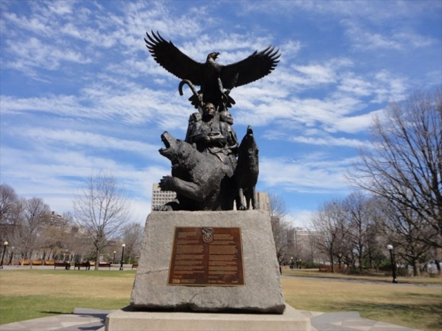 The National Aboriginal Veterans Monument in Ottawa commemorates the contributions of all Aboriginal peoples in war and peacekeeping operations from World War I to the present.