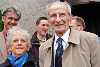 Léo Major and his wife, Pauline, during their visit to Zwolle in 2005. Courtesy of Zwolle Tourism and Zwolle in Photo (https://www.zwolleinbeeld.nl).