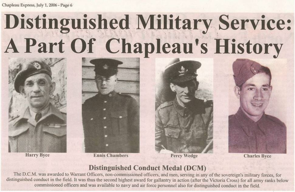 Newspaper clipping from Chapleau Express (2006) featuring Charles Byce and his father, Harry.