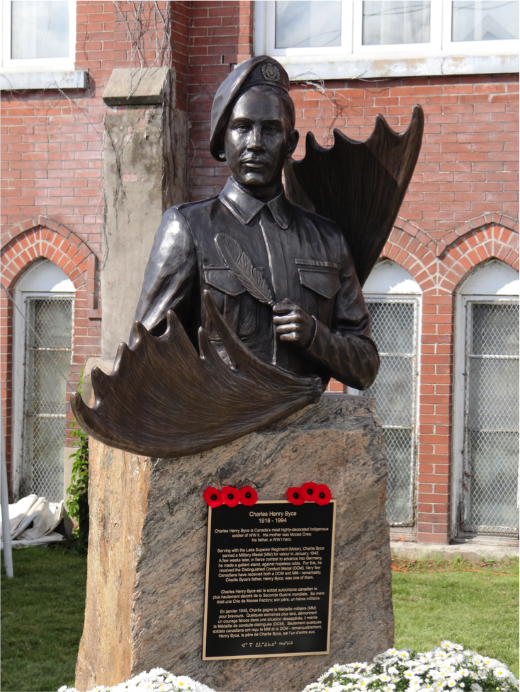 The Charles Byce Commemorative Statue in Thunder Bay, Ontario.