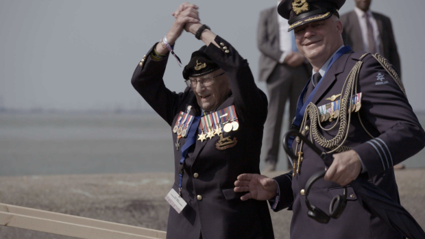 """Don White (left) and the Netherlands' Lieutenant-Colonel Ton Linssen, Defence, Military and Air Attache, at the ceremony in Terneuzen, the Netherlands, to commemorate 75 years of liberation"" 2019."
