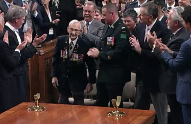 """During his address to Canadian Parliament, Netherlands PM Mark Rutte thanks veteran Don White who helped liberate Holland from the Nazis during World War Two."" 2018. Courtesy of the Canadian Press."