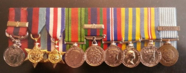 Medal set of Léo Major. From left to right: Distinguished Conduct Medal (DCM) with Bar,1939-1945 Star, France & Germany Star, Defence Medal, Canadian Volunteer for Service Medal (1939-1945) with Overseas Bar, British War Medal (1939-1945), Korean War Medal, Canadian Volunteer for Service Medal (1950-1953), and the United Nation Korean War Medal.