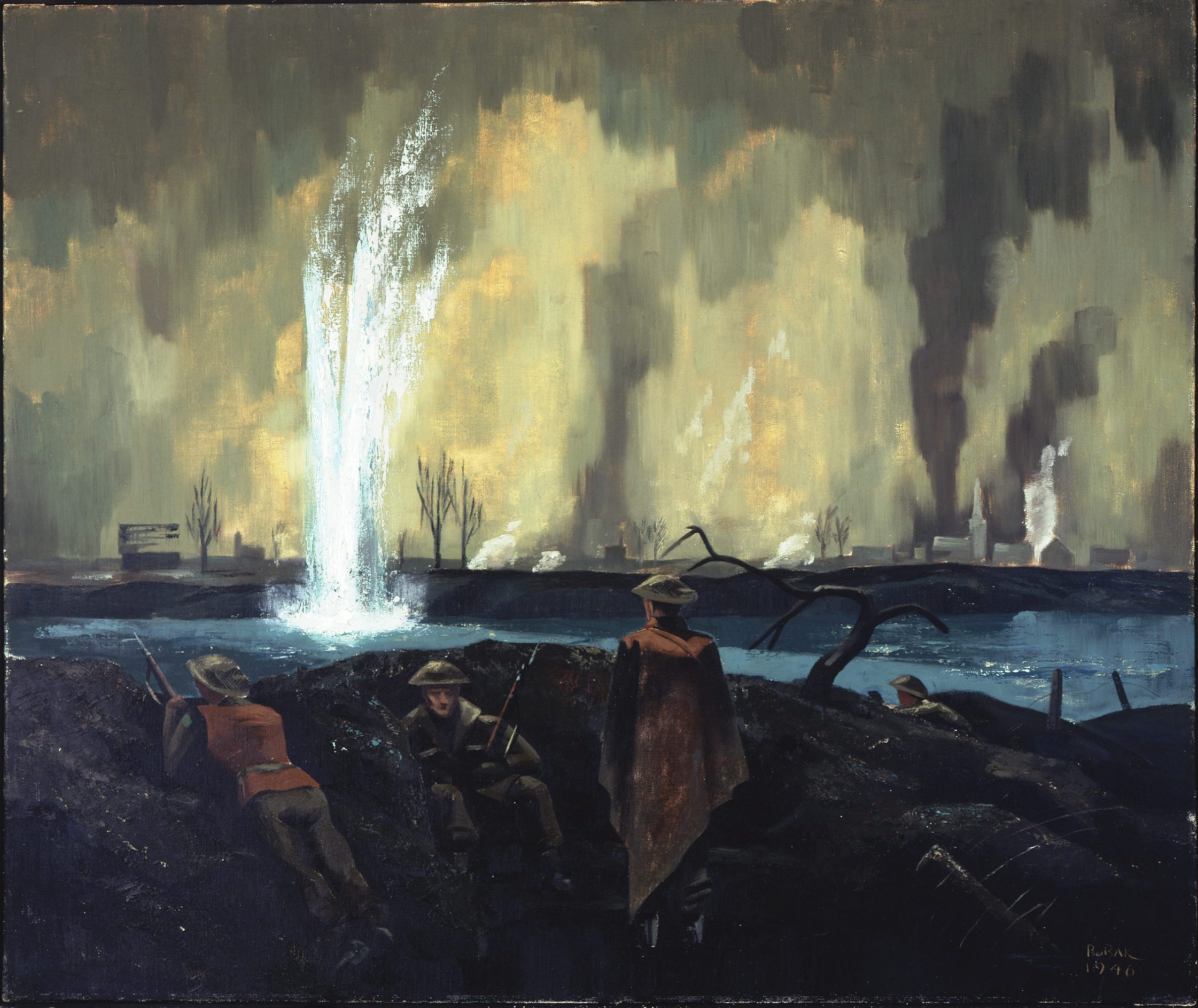 """The Maas River - February 1945"" Painting: Captain Bruno J. Boback. Found in the collection of the Canadian War Museum, 19710261-1488."