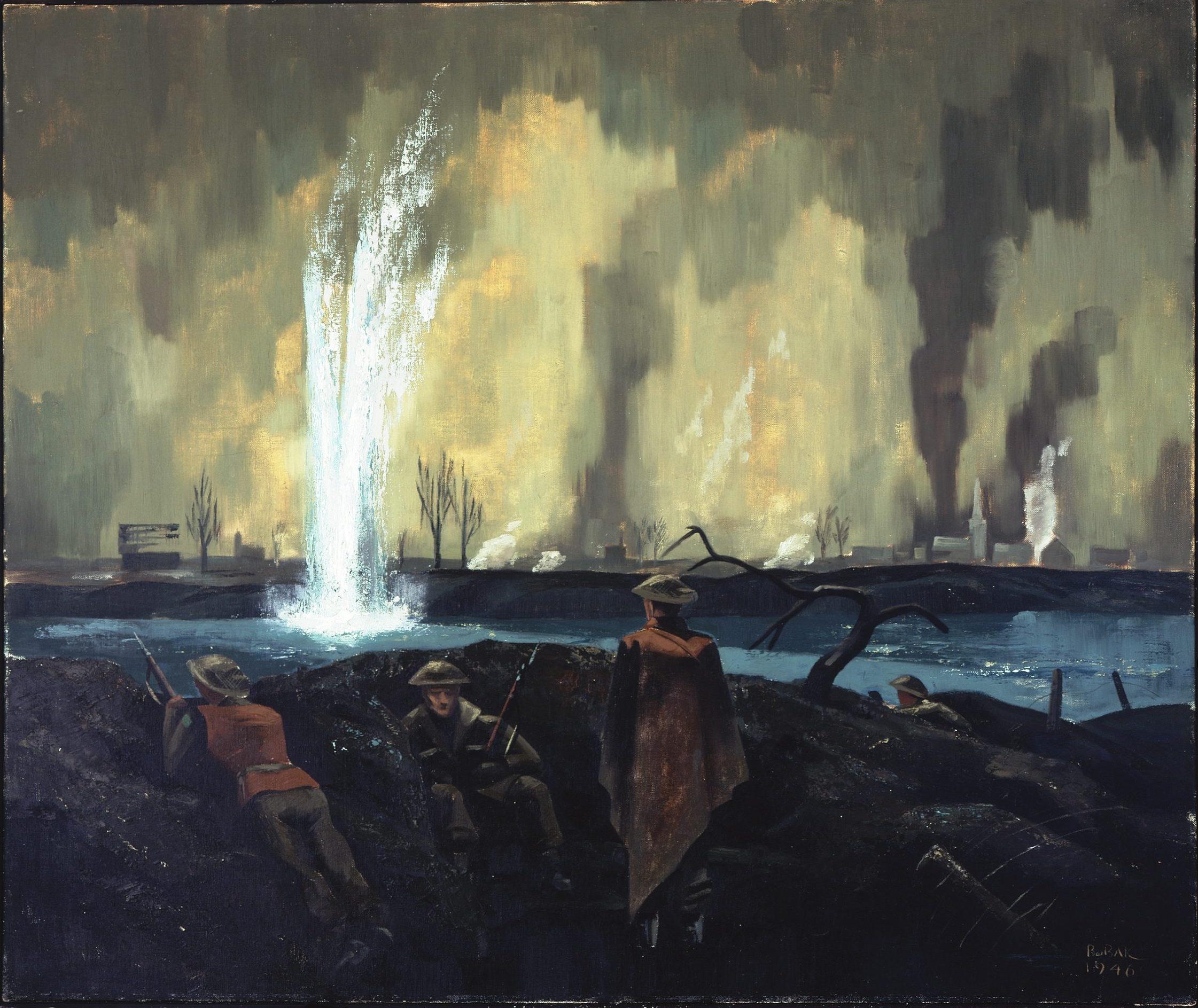 """""""La Meuse - Février 1945"""" Peinture : Le capitaine Bruno J. Boback. Trouvé dans la collection du Musée canadien de la guerre, 19710261-1488."""