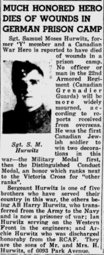 Newspaper clipping of Samuel Moses Hurwitz's death notice. Courtesy of Veterans Affairs Canada.