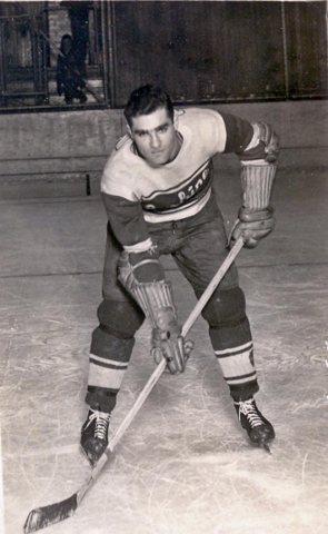 Samuel Moses Hurwitz playing hockey.  Courtesy of Shelly Reuban, niece of Samuel Hurwitz.