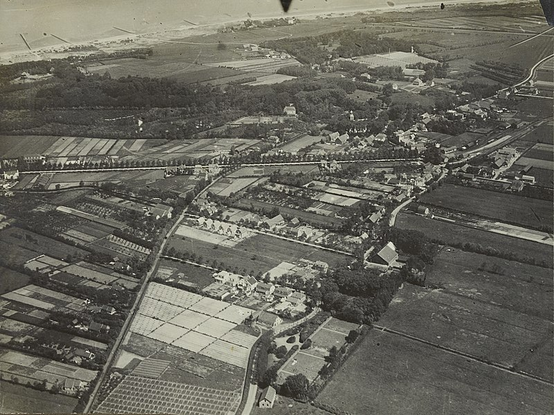 "Aerial photograph of Oostvoorne, The Netherlands"" c.1920-1940. This is the town where Philip Pochailo was hidden by the Dutch Resistance after he was shot down by enemy fire. Courtesy of the Netherlands Institute for Military History, 2011-9902-09-01."