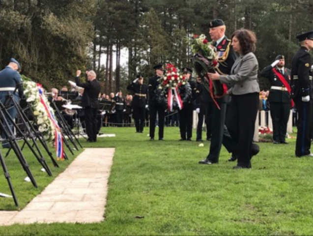 Wreath laying at Bergen op Zoom Canadian War Cemetery 2019. Ambassador Lisa Helfand and Canadian Defence Attaché, Colonel Tim Young.
