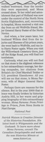 "Excerpt from ""Poise and Dignity Saved Mona Parsons."" Article: Patrick Watson, National Post, 23 June 2005. Courtesy of Nova Scotia Famous Monuments and Places."