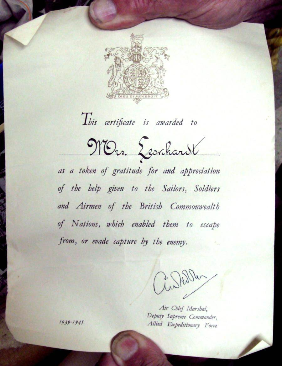 """The citation given to Mona Leonhardt in 1945 from Arthur W. Tedder, Air Chief Marshal of the Royal Air Force and Deputy Supreme Commander of the Allied Expeditionary Force"" April 2008. Courtesy of the Nova Scotia Famous Monuments and Places."
