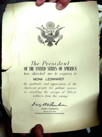 """The citation given to Mona Leonhardt in 1945 from Dwight Eisenhower Supreme Commander of the Allied Expeditionary Force Commanding General United States Forces European Theater"" April 2008. Courtesy of the Nova Scotia Famous Monuments and Places."