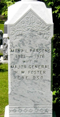 Gravesite of Mona Parsons at Willowbank Cemetery in Wolfville, Nova Scotia. 2004. Courtesy of Nova Scotia Famous Monuments and Places.