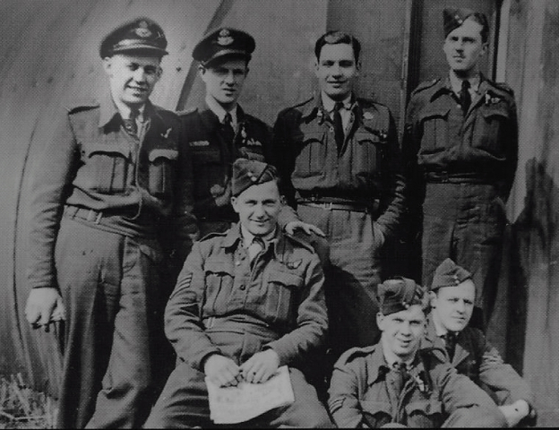 Philip Pochailo (far left) and his flying crew Jock Reilly, Len Clutterbuck, Terry Mehan, Dave Dickson, Bill Rankin, and Joe Patmore.