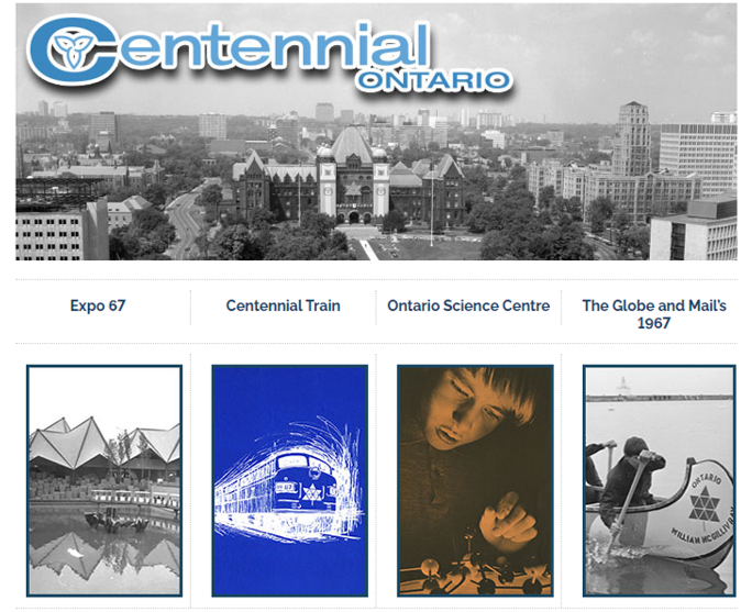 "An excerpt from the Archives of Ontario's ""Centennial Ontario"" online exhibit showing the main menu."