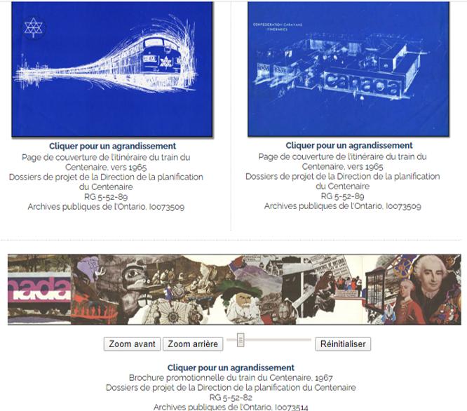 Un extrait de l'exposition en ligne Le Centenaire en Ontario des Archives publiques de l'Ontario présentant deux plans et l'outil Zoom interactif pour agrandir les photographies.