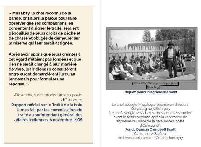 Un extrait de l'exposition en ligne Le Traité de la baie James (Traité no 9) des Archives publiques de l'Ontario présentant une citation et une photographie d'archive.