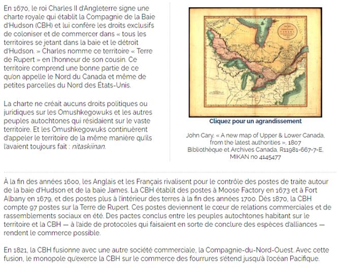 Un extrait de l'exposition en ligne Le Traité de la baie James (Traité no 9) des Archives publiques de l'Ontario présentant une carte et du texte contextuel.